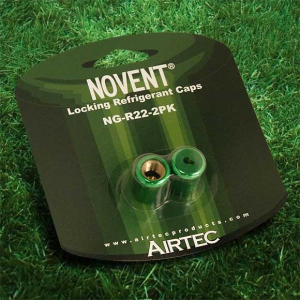 "Novent  86662 Green Locking Refrigerant Caps 1/4"" Thread R22 2pk - NG-R222PK"