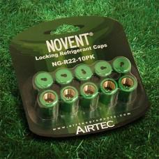 "Novent 86661 Green Locking Refrigerant Cap 1/4"" Thread R22 10pk - NG-R2210PK"