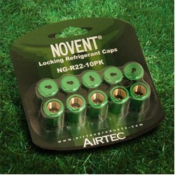"Novent 86661 Green Locking Refrigerant Cap 1/4"" Thread R22 10pk - NG-R2210PK"